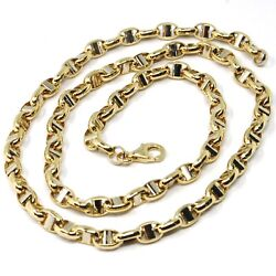 18k Yellow White Gold Chain Sailorand039s Navy Mariner Link Big Oval 5 Mm 24