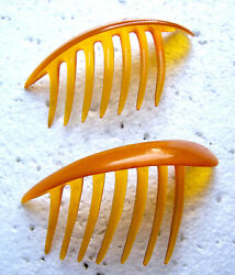 Matched Pair Art Deco Hair Combs Amber Celluloid Hair Accessories
