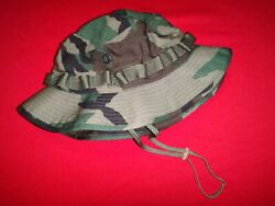 Us Army Woodland Camo Tropical Hat With Chinstrap And Label New Old Stock
