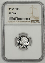 1957 Proof Roosevelt Dime 10c Ngc Certified Pf 69 Star 014