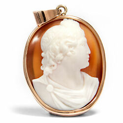 Antique Shell Cameo In One Modern Rotgold-fassung Um 2010 Apoll Belvedere
