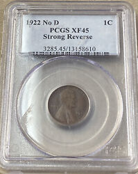 1922 No D Lincoln Cent Pcgs Xf45 Strong Reverse