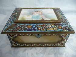Beautiful Antique French Bronze Champleve Onyx And H.p. Porcelain Plaque Box