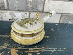 Vintage Porcelain Silent Butler Painted Floral Victorian Yellow And Gold