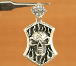 China Silver Hand Carving Skull Pendant Decoration Netsuke Necklace Cool Gift