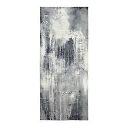2and0396x10and039 Hand Knotted Gray-black Abstract Wool And Silk Runner Rug R62027