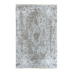 6and039x9and039 Grey Broken Farsian Design Wool And Silk Hand Knotted Oriental Rug R62057