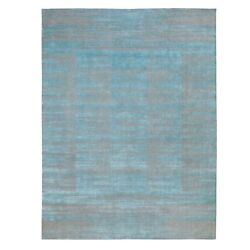 9and03911x13and03911 Blue Jacquard Hand Loomed Modern Organic Wool Oriental Rug R62117