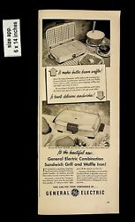 1950 General Electric Sandwich Grill Waffle Iron Vintage Print Ad 9979