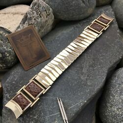 16mm Premium Gold-filled And Lizard Mid-century Modern Nos 50s Vintage Watch Band