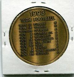 1993 Georgia Tech Football Schedule Yellow Jackets Medal Br 38mm Uncirculated