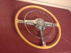 46 47 48 Pontiac Accessory Deluxe Safti-flex Steering Wheel W/ Nos Horn Ring