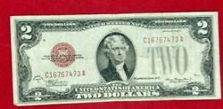 1928 D 2 Mule Red Seal United States Note Bill Microplate Rev Legal Tender Fine