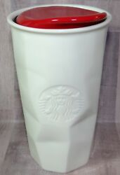 Starbucks White Faceted Etched Mermaid Logo 10oz Travel Mug Cup W Red Lid 2013