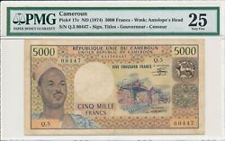 Banque Centrale Cameroun 5000 Francs Nd1974 Low S/no 0044x Pmg 25