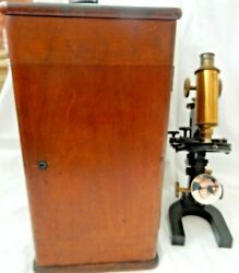 Vintage Bausch And Lomb Microscope With Wood Case 87597 Pat1897 Sauveur Boylston