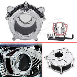 Chrome Edge Clear Cnc Cut Air Cleaner Intake Filter Kit For Harley Softail Motor