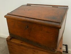 Large Antique Early 19th C Bible Box Wooden Pitch Pine Writing Slope Box And Key