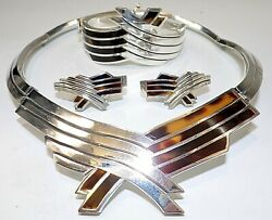Necklace Bracelet And Earrings Set Sterling Silver Taxco Mexico Faux Tortoise 286g
