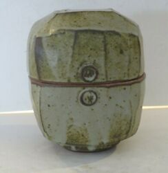 Warren Mackenzie Large Pottery Box With Mossy Glaze, Double Stamped, Pvt. Coll.