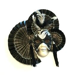 Wall Dandeacutecor Venetian Mask With Porcelain Face Feather And Fan Decorations