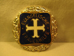 Size Lapel Pin Badge Of Honor Evangelische Frauenhilfe Old Klerikal Church Email