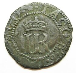 1589 Scotland King James Vi, Billon Hardhead 2d With An Old Collection Label