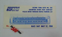 1984 Indianapolis 500 Race Day Champion Spark Plug Co.suite Ticket Brickyard