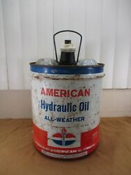 Vintage American Oil Amoco 5 Gallon Standard Hydraulic Oil Can W/ Handle And Spout