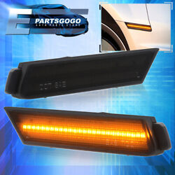 For 10-15 Chevy Camaro Front Amber Led Driving Side Marker Lights Lamps Smoked