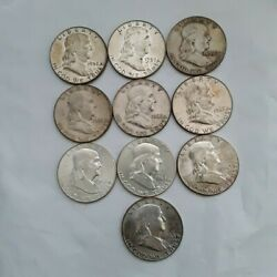 5 Half Roll Of Ben Franklyn Us Silver Coins 3.617 Oz Total Silver Pre 1964