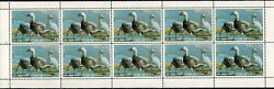 1983 Minnesota State Duck Stamp Sheet Of 10 Stamps Mnh, Error No Serial