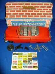 Ideal Fix-it Convertible Platic Toy Car Box Tools Spare Parts Repair Vintage Old