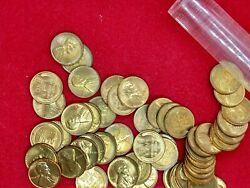 1940 D Lincoln Wheat Cent Penny Bu Uncirculated Roll Of 50 Coins Red And Red Brown