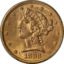 1883-p Liberty Gold 5 Pcgs Ms64 Superb Eye Appeal Strong Strike