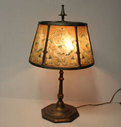 Antique Reverse Painted Paneled Table Lamp – Ribbed Textured Shade