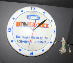 Antique Double Bubble Advertising Clock Rexall Bisma-rex -right Remedy For Acid