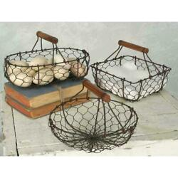 Set Of Three Chicken Wire Baskets Egg Vintage Farmhouse Rustic Country Handles