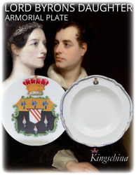 Rare Armorial Lord Byron Daughter Ada Lovelace Plate Circa 1840 Vase Worcester