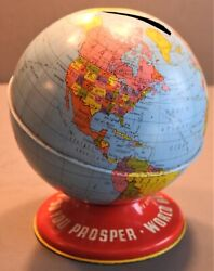 Vintage 1950s Ohio Art Co Tin Litho Toy World Globe Coin Bank Made In Usa