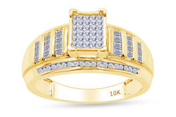 1/2 Cttw White Natural Diamond Invisible Ring 14k Solid Yellow Gold