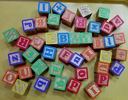 About 4 Lb Vintage 1-3/4 Square Cube Alphabet Number Image Toy Blocks Free S/h
