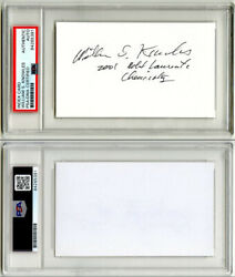 William Knowles Signed 3x5 Index Card Nobel Prize Chemistry Psa/dna Autographed