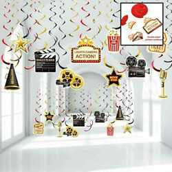 Hollywood Movie Theme Party Hanging Swirls Lights Camera Action Night Black Gold