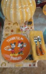 Disney Pottery Barns Kids Plastic Plate Tumbler And Utensil Mickey And Minnie