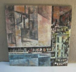 1967 Magnus Engstrom City Scape Modernist Abstract Signed Painting Mid-century
