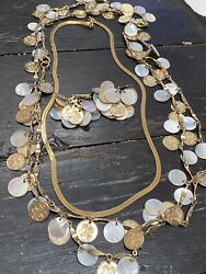 Vtg 1960's -long Coin Style Necklace And Clip Earrings Set, Costume Jewelry