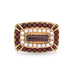 East West Garnet Seed Pearl Cocktail Ring Vintage 18k Yellow Gold Estate Jewelry