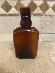 Vintage Old Western Style Amber Brown Liquor Whiskey Bottle Please See All Photo