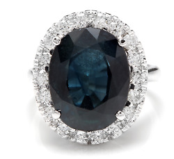 12.15ct Natural Blue Sapphire And Diamond 14k White Solid Gold Ring
